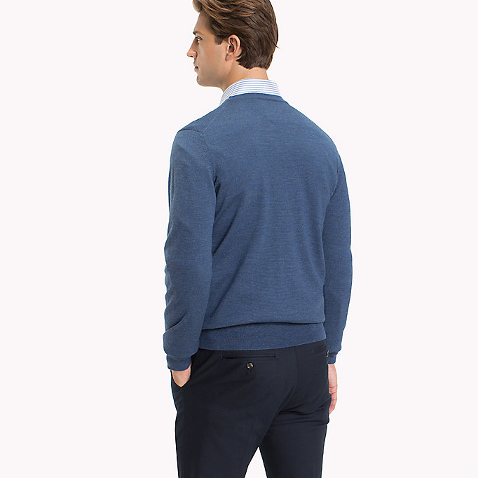 TOMMY HILFIGER V-Neck Wool Jumper - LIMOGES - TOMMY HILFIGER Men - detail image 1