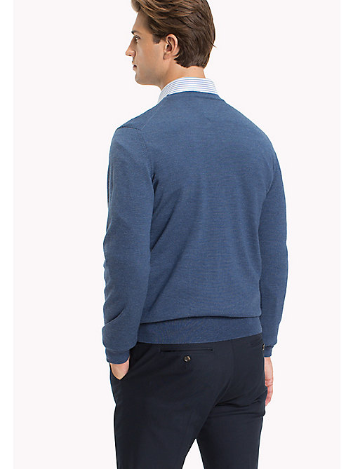 TOMMY HILFIGER V-Neck Wool Jumper - DARK DENIM - TOMMY HILFIGER Jumpers - detail image 1