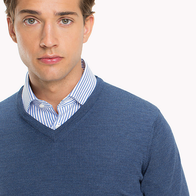 TOMMY HILFIGER V-Neck Wool Jumper - LIMOGES - TOMMY HILFIGER Men - detail image 2