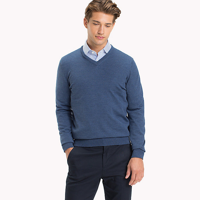 TOMMY HILFIGER V-Neck Wool Jumper - LIMOGES - TOMMY HILFIGER Men - main image