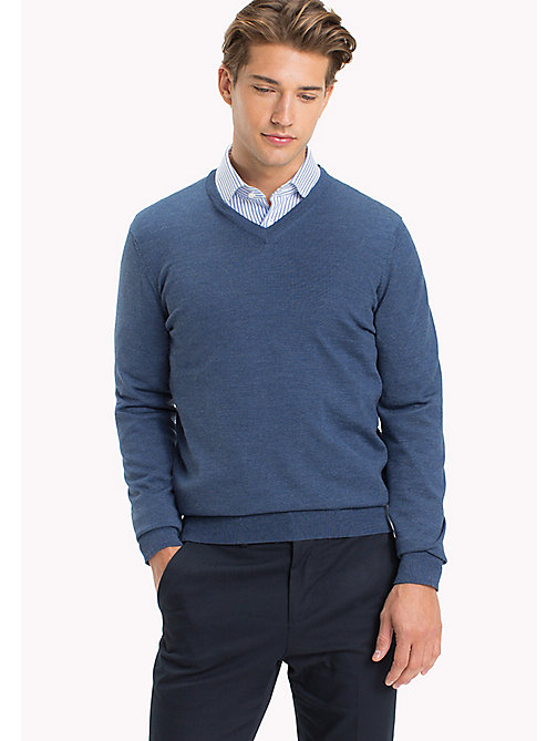 TOMMY HILFIGER V-Neck Wool Jumper - DARK DENIM - TOMMY HILFIGER Jumpers - main image