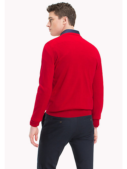 TOMMY HILFIGER V-Neck Wool Jumper - HAUTE RED - TOMMY HILFIGER Jumpers - detail image 1