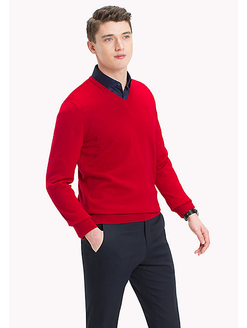 TOMMY HILFIGER V-Neck Wool Jumper - HAUTE RED - TOMMY HILFIGER Jumpers - main image