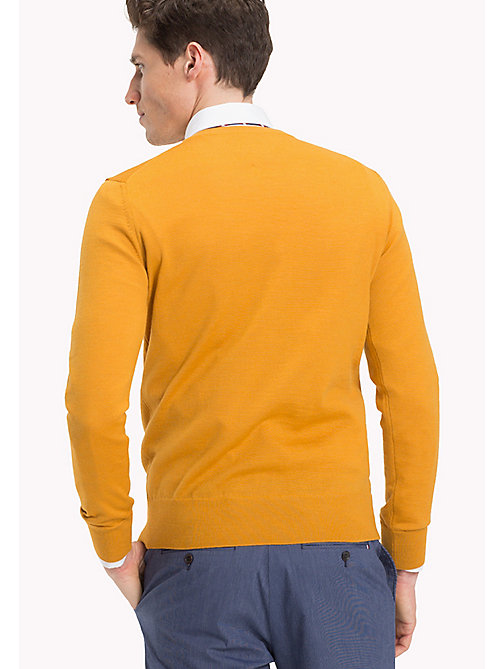 TOMMY HILFIGER V-Neck Wool Jumper - INCA GOLD - TOMMY HILFIGER Jumpers - detail image 1