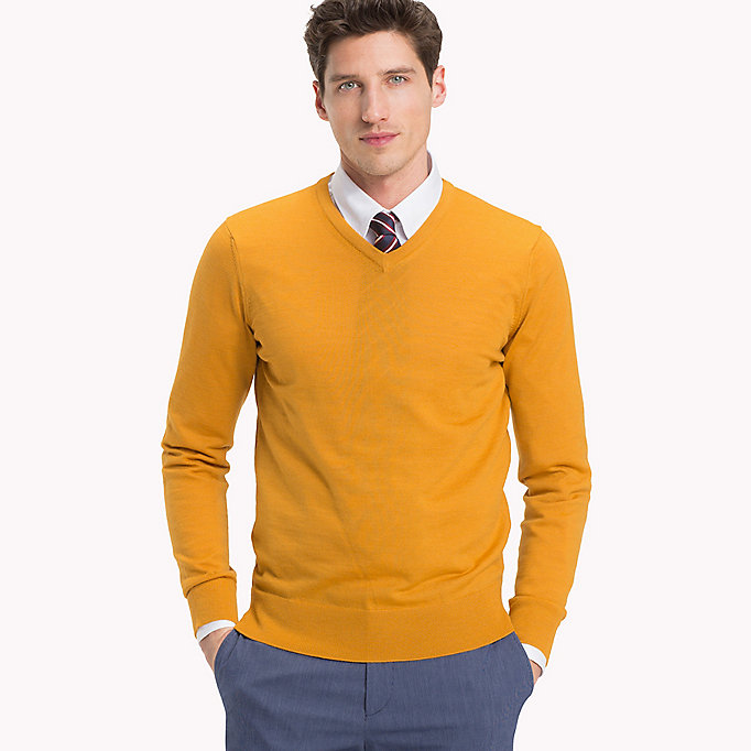 TOMMY HILFIGER V-Neck Wool Jumper - TANNIN HEAHTER - TOMMY HILFIGER Men - main image