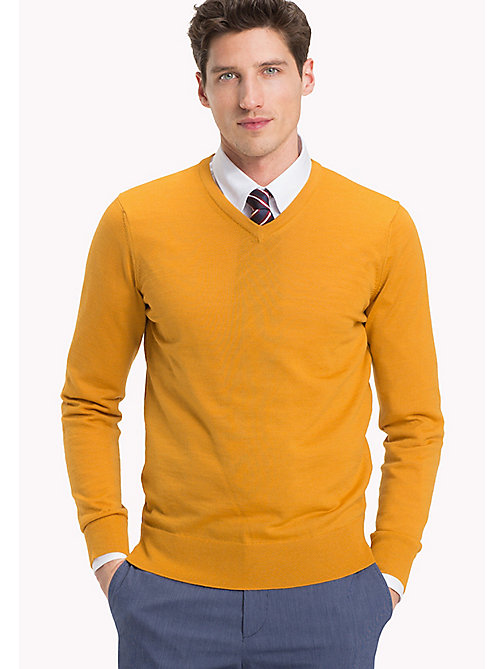 TOMMY HILFIGER V-Neck Wool Jumper - INCA GOLD - TOMMY HILFIGER Jumpers - main image