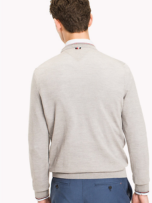 TOMMY HILFIGER Signature Stripe Wool Jumper - GRAY VIOLET HEATHER - TOMMY HILFIGER NEW IN - detail image 1