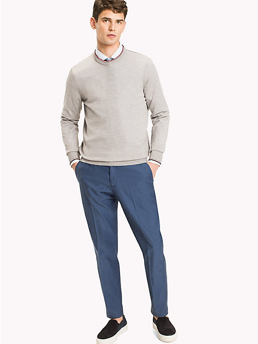TOMMY HILFIGER Signature Stripe Wool Jumper - GRAY VIOLET HEATHER - TOMMY HILFIGER Jumpers - main image