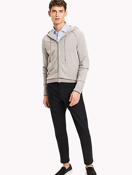 TOMMY HILFIGER Sweat à capuche en laine haut de gamme - GRAY VIOLET HEATHER - TOMMY HILFIGER Vetements - image principale