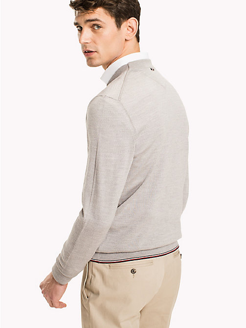 TOMMY HILFIGER Cardigan en laine luxe - GRAY VIOLET HEATHER - TOMMY HILFIGER Vetements - image détaillée 1