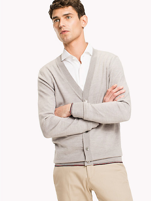 TOMMY HILFIGER Luxury Wool Cardigan - GRAY VIOLET HEATHER - TOMMY HILFIGER Suits & Tailored - main image