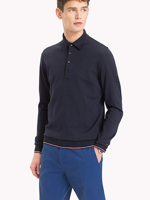 TOMMY HILFIGER Long Sleeve Knitted Wool Polo - NAVY BLAZER - TOMMY HILFIGER Polo Shirts - main image