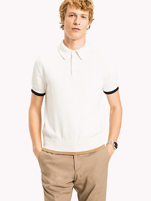 TOMMY HILFIGER Cotton Tipped Short Sleeve Polo - SNOW WHITE - TOMMY HILFIGER Polo Shirts - main image
