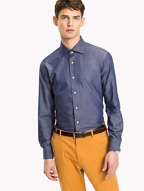 TOMMY HILFIGER Cotton Twill Fitted Shirt - 421 - TOMMY HILFIGER Formal Shirts - main image