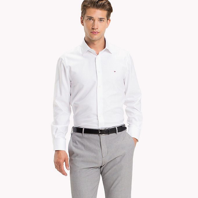 TOMMY HILFIGER Fitted Oxford Cotton Shirt - 401 - TOMMY HILFIGER Clothing - main image