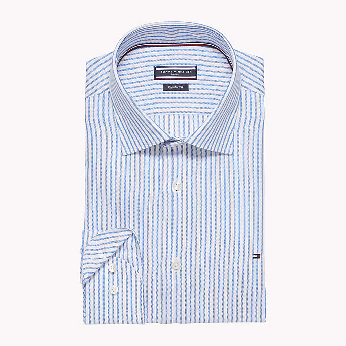 TOMMY HILFIGER Stripe Oxford Fitted Shirt - 601 - TOMMY HILFIGER Men - detail image 1