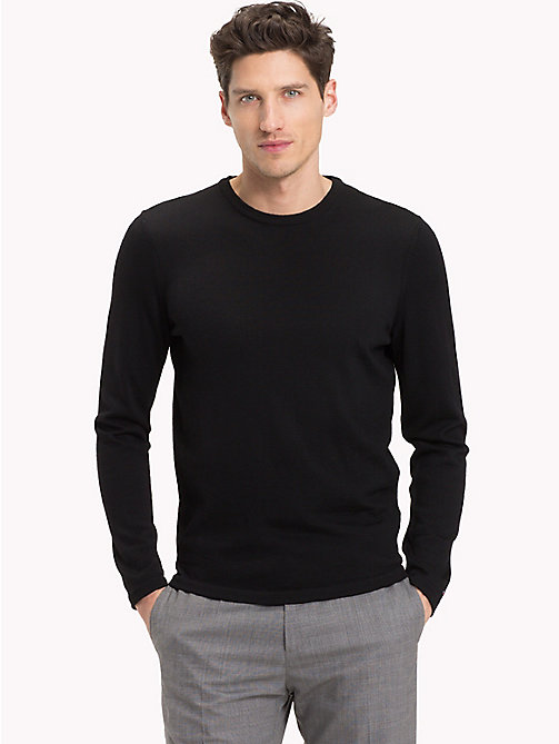 TOMMY HILFIGER Crew Neck Jumper - FLAG BLACK - TOMMY HILFIGER Clothing - main image