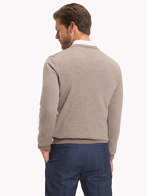 TOMMY HILFIGER Crew Neck Jumper - CORNSTALK HEATHER - TOMMY HILFIGER Clothing - detail image 1