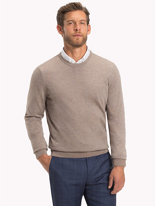 TOMMY HILFIGER Crew Neck Jumper - CORNSTALK HEATHER - TOMMY HILFIGER Clothing - main image