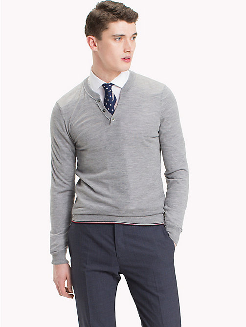 TOMMY HILFIGER Tipped Henley Top - DRIZZLE HEATHER - TOMMY HILFIGER Sweatshirts & Knitwear - main image