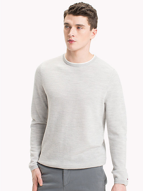 TOMMY HILFIGER Contrast Collar Crew Neck Jumper - DRIZZLE HEATHER - TOMMY HILFIGER Jumpers - main image