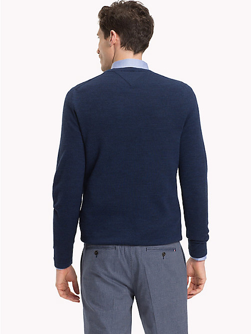 TOMMY HILFIGER Contrast Collar Crew Neck Jumper - INSIGNIA BLUE HEATHER - TOMMY HILFIGER Clothing - detail image 1