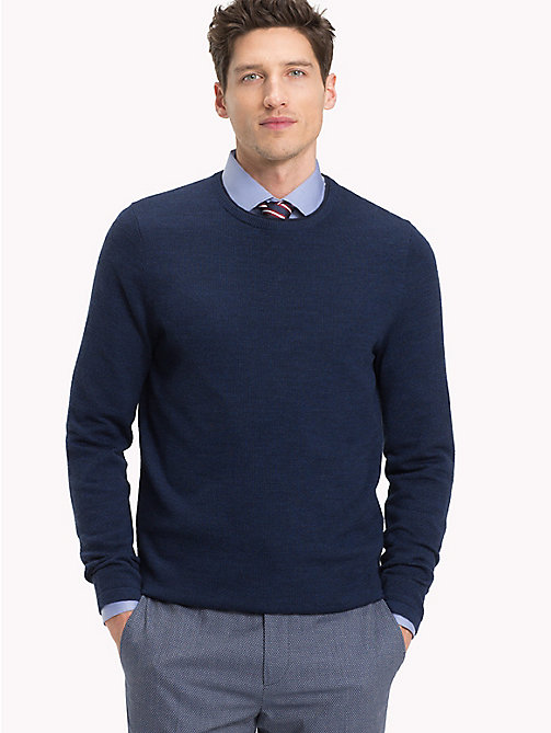 TOMMY HILFIGER Contrast Collar Crew Neck Jumper - INSIGNIA BLUE HEATHER - TOMMY HILFIGER Jumpers - main image