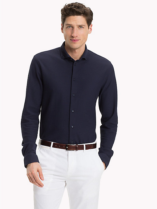 TOMMY HILFIGER Button Down Long Sleeve Polo Shirt - NAVY BLAZER - TOMMY HILFIGER What to Wear - main image