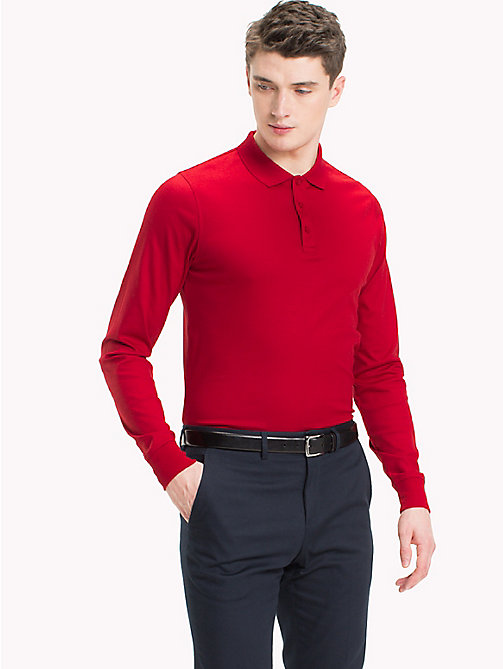 TOMMY HILFIGER Long Sleeve Polo Shirt - TOMMY RED - TOMMY HILFIGER TOMMY'S PADDOCK - main image
