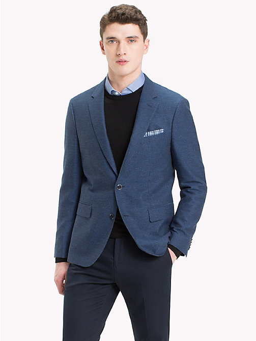 TOMMY HILFIGER Micro Pattern Cotton Blend Blazer - 420 - TOMMY HILFIGER Black Friday Men - main image