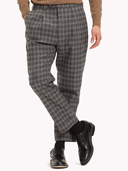 TOMMY HILFIGER Check Tapered Slim Fit Trousers - 017 - TOMMY HILFIGER Formal Trousers - main image