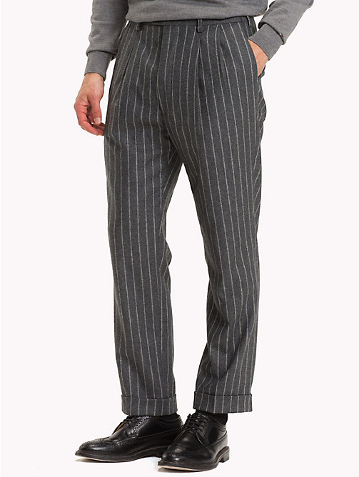 TOMMY HILFIGER Stripe Wool Blend Trousers - 018 - TOMMY HILFIGER Trousers & Shorts - main image