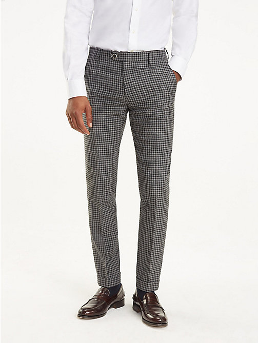 TOMMY HILFIGER Virgin Wool Check Trousers - 019 - TOMMY HILFIGER Trousers & Shorts - main image