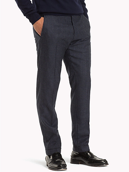 TOMMY HILFIGER Virgin Wool Check Trousers - 425 - TOMMY HILFIGER Trousers & Shorts - main image