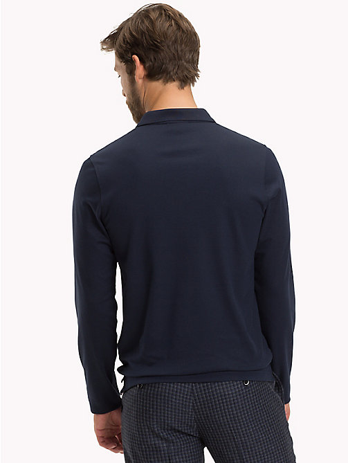 TOMMY HILFIGER Long Sleeve Slim Fit Polo Shirt - NAVY BLAZER - TOMMY HILFIGER Polo Shirts - detail image 1