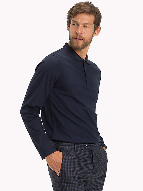 TOMMY HILFIGER Long Sleeve Slim Fit Polo Shirt - NAVY BLAZER - TOMMY HILFIGER Polo Shirts - main image