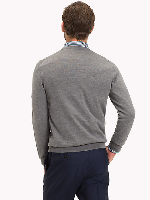 TOMMY HILFIGER Luxury Wool V-Neck Cardigan - STEEL GRAY HEATHER - TOMMY HILFIGER Clothing - detail image 1