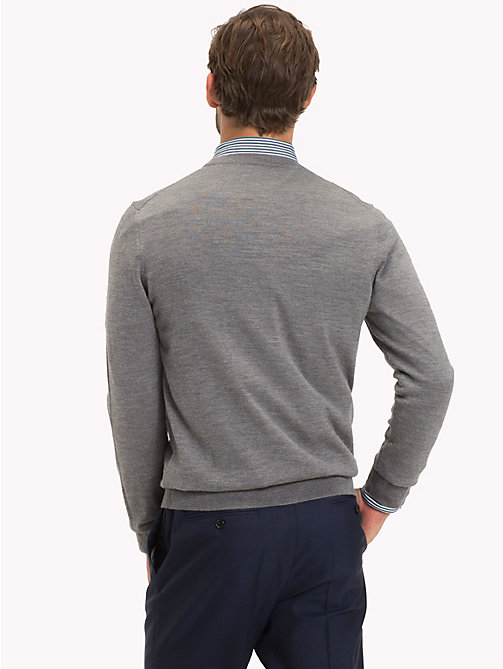TOMMY HILFIGER Luxury Wool V-Neck Cardigan - STEEL GRAY HEATHER - TOMMY HILFIGER Cardigans - detail image 1