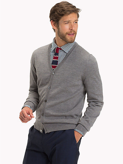 TOMMY HILFIGER Luxury Wool V-Neck Cardigan - STEEL GRAY HEATHER - TOMMY HILFIGER Clothing - main image