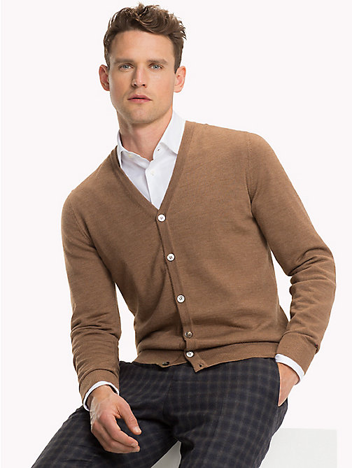 TOMMY HILFIGER Luxury Wool V-Neck Cardigan - TOASTED COCONUT HTR - TOMMY HILFIGER Cardigans - main image