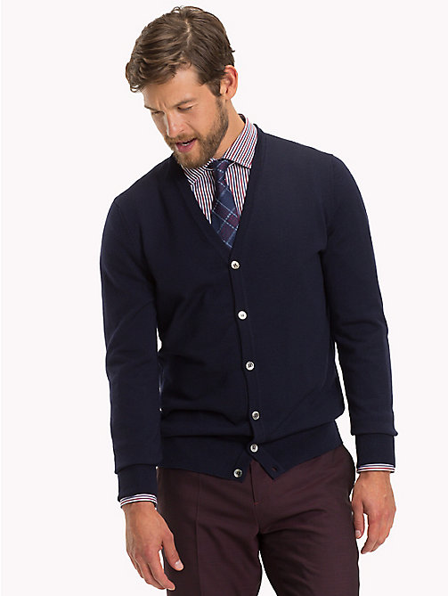 TOMMY HILFIGER Luxury Wool V-Neck Cardigan - NAVY BLAZER - TOMMY HILFIGER Clothing - main image