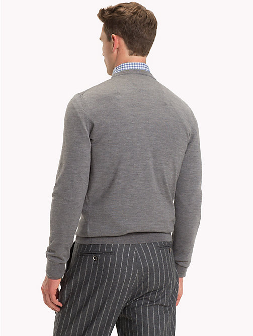 TOMMY HILFIGER Luxury Wool Crew Neck Jumper - STEEL GRAY HEATHER - TOMMY HILFIGER NEW IN - detail image 1