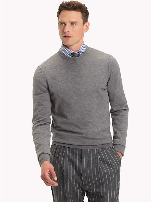 TOMMY HILFIGER Luxury Wool Crew Neck Jumper - STEEL GRAY HEATHER - TOMMY HILFIGER NEW IN - main image