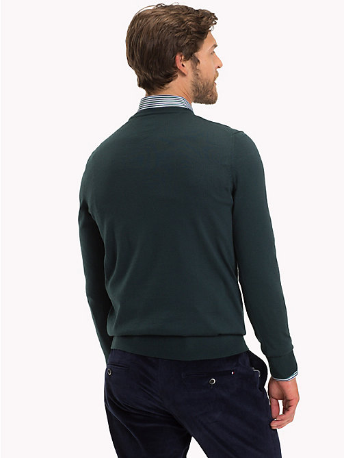 TOMMY HILFIGER Luxury Wool Crew Neck Jumper - JUNE BUG - TOMMY HILFIGER Jumpers - detail image 1