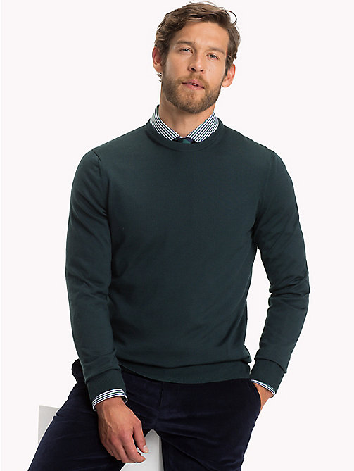 TOMMY HILFIGER Luxury Wool Crew Neck Jumper - JUNE BUG - TOMMY HILFIGER Suits & Tailored - main image