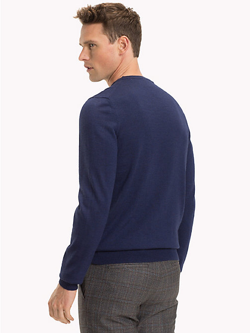 TOMMY HILFIGER Luxury Wool Crew Neck Jumper - MOOD INDIGO HEATHER - TOMMY HILFIGER Sweatshirts & Knitwear - detail image 1