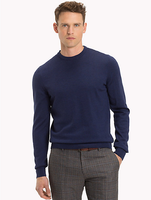 TOMMY HILFIGER Luxus-Wollpullover mit Rundhalsausschnitt - MOOD INDIGO HEATHER - TOMMY HILFIGER Clothing - main image