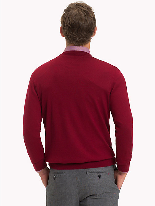 TOMMY HILFIGER Luxury Wool Crew Neck Jumper - SUNDRIED TOMATO - TOMMY HILFIGER Jumpers - detail image 1