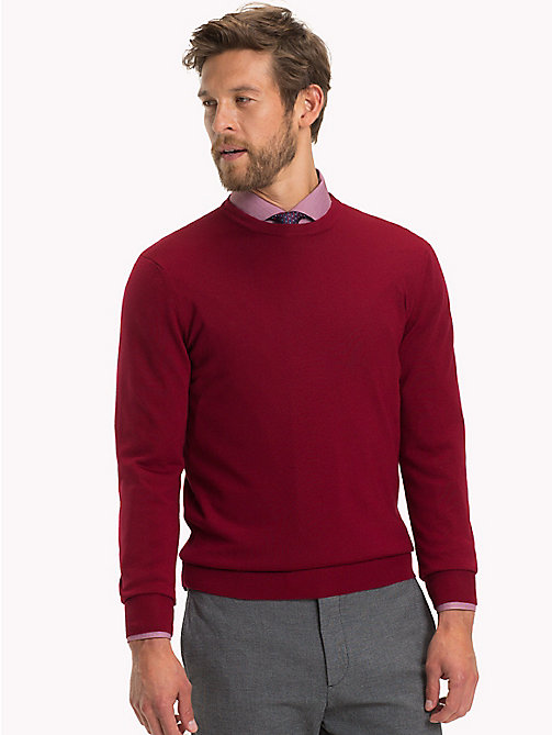 TOMMY HILFIGER Luxury Wool Crew Neck Jumper - SUNDRIED TOMATO - TOMMY HILFIGER Sweatshirts & Knitwear - main image