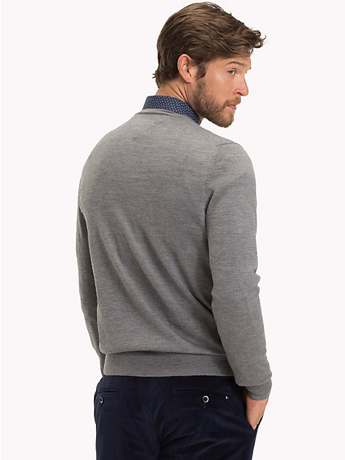 TOMMY HILFIGER Luxury Wool V-Neck Jumper - STEEL GRAY HEATHER - TOMMY HILFIGER Sweatshirts & Knitwear - detail image 1